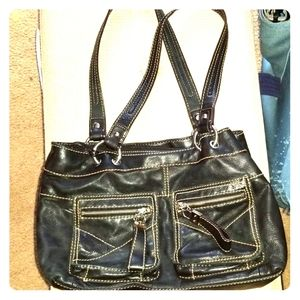 Black double strap leather purse